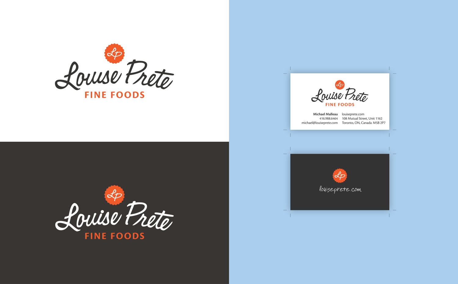Louise Prete Fine Foods identity and business card