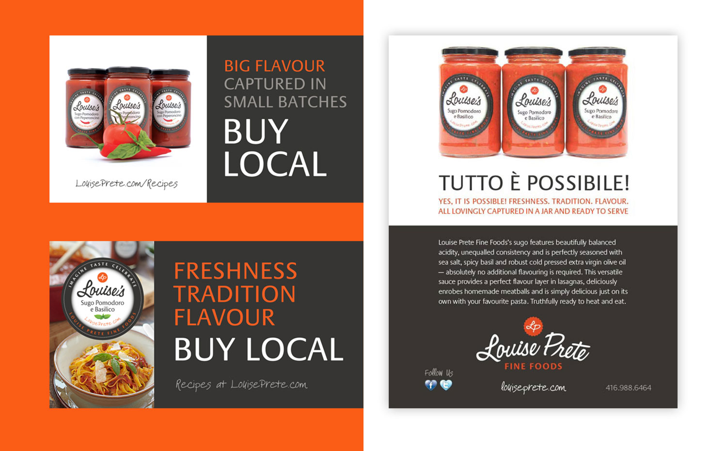 Louise Prete Fine Foods magazine ads and shelf-talkers