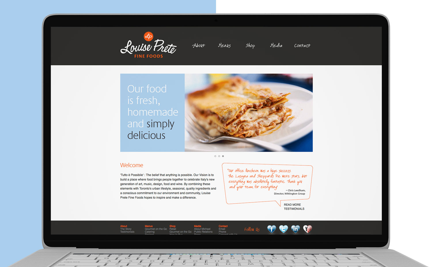 Louise Prete Fine Foods website on laptop