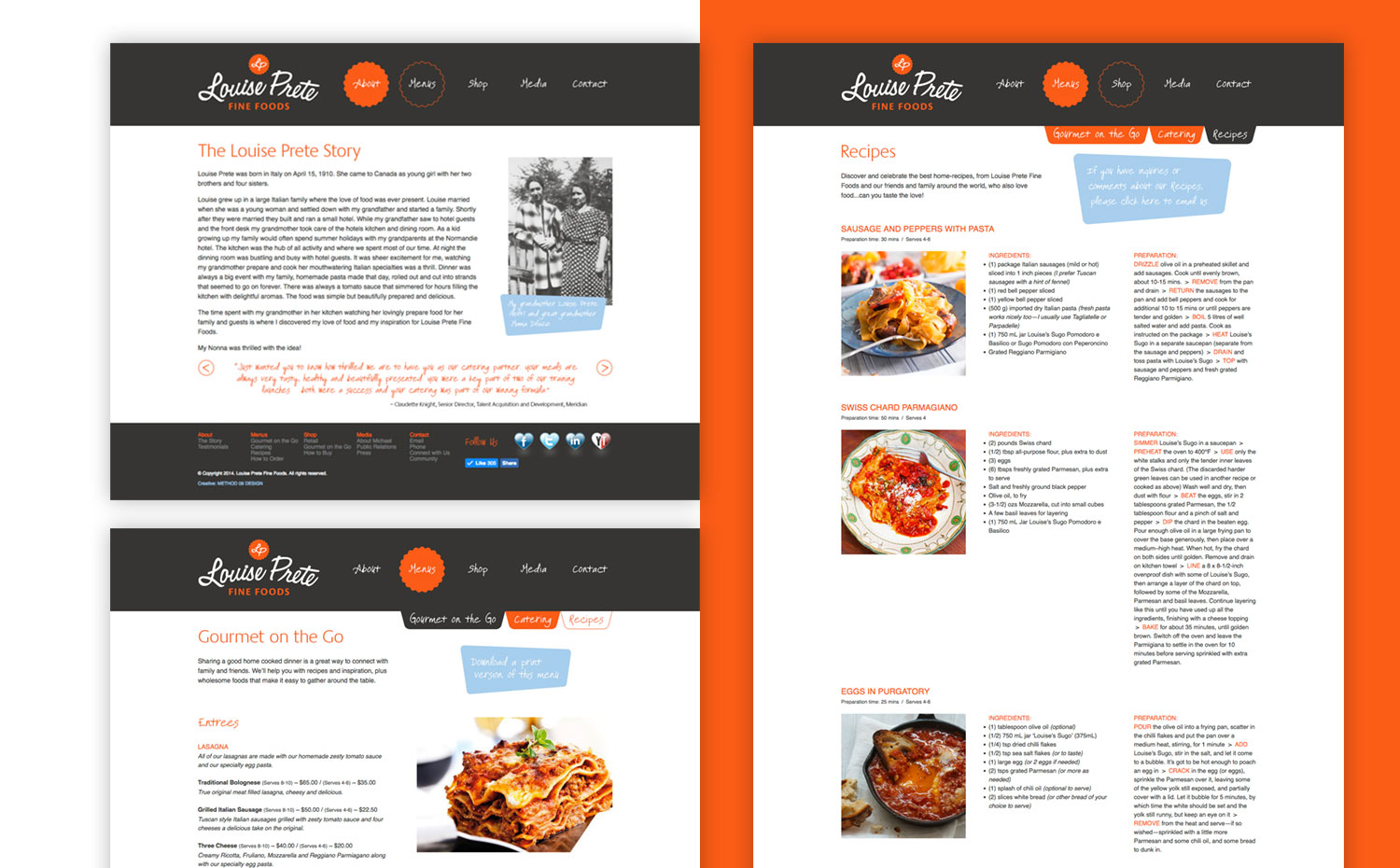 Louise Prete Fine Foods website pages
